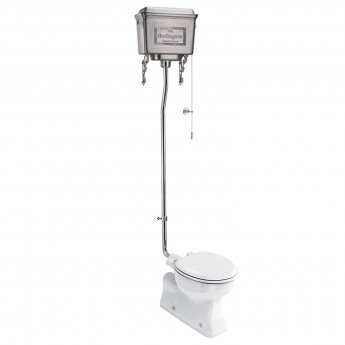 Burlington S-Trap High Level Toilet Polished Aluminium Cistern - Excluding Seat