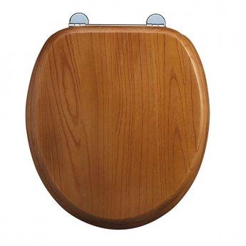 Burlington Standard Moulded Wood Toilet Seat, Standard Hinges, Oak