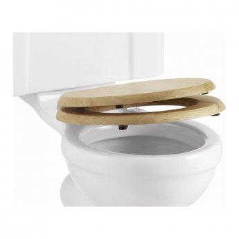 Burlington Standard Moulded Wood Toilet Seat, Soft Close Hinges, Oak