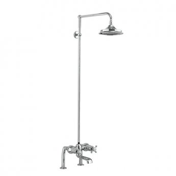 Burlington Tay DM Complete Bath Shower Mixer, Rigid Riser with Fixed 12 inch Head - Chrome