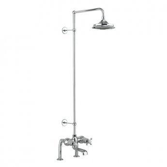 Burlington Tay Deck Mounted Bath Shower Mixer, Extended Rigid Riser with Fixed 9 inch Head