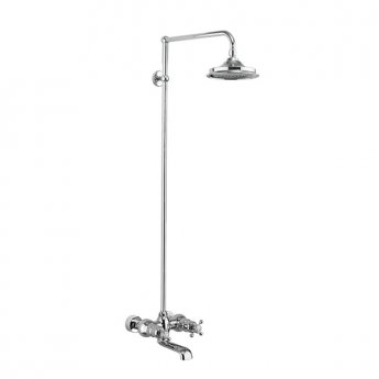 Burlington Tay WM Complete Bath Shower Mixer, Rigid Riser with Fixed 12 inch Head - Chrome