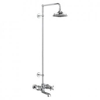Burlington Tay WM Bath Shower Mixer with Extended Rigid Riser with Fixed Head