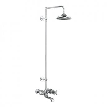 Burlington Tay WM Complete Bath Shower Mixer, Extended Rigid Riser with Fixed 9 inch Head - Chrome
