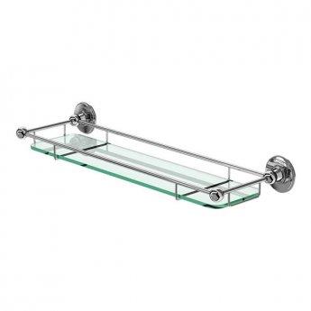 Burlington Traditional Glass Shelf, 532mm Wide, Chrome/Frosted Glass