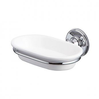 Burlington Traditional Soap Dish, Wall Mounted, White/Chrome