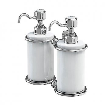 Burlington Traditional Double Soap Dispenser, Wall Mounted, White/Chrome