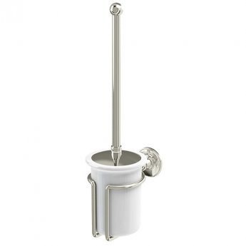 Burlington Traditional Toilet Brush and Holder Wall Mounted - White/Nickel