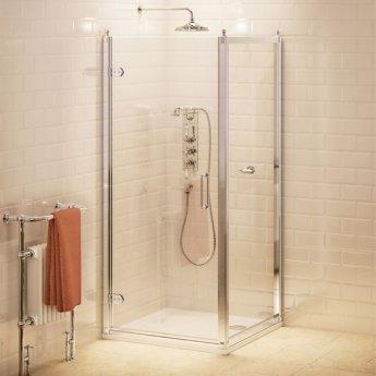 Burlington Traditional Hinged Shower Door, 760mm Wide, 8mm Glass