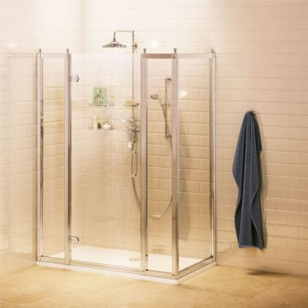 Burlington Traditional Inline Hinged Shower Door, 1400mm Wide, 8mm Glass
