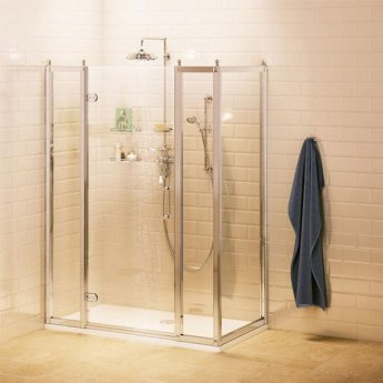 Burlington Traditional Inline Hinged Door Shower Enclosure with Tray 1100mm x 760mm, 8mm Glass