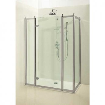 Burlington Traditional Inline Hinged Door Shower Enclosure with Tray 1700mm x 760mm, 8mm Glass