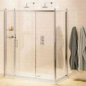 Burlington Traditional Inline Sliding Door Shower Enclosure with Tray 1500mm x 800mm, 8mm Glass