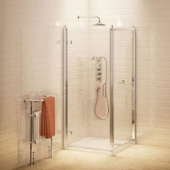 Burlington Traditional Hinged Door Shower Enclosure with Tray 900mm x 800mm, 8mm Glass