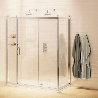 Burlington Traditional Sliding Door Shower Enclosure with Tray 1400mm x 900mm, 8mm Glass
