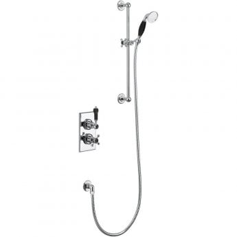 Burlington Trent Thermostatic Dual Concealed Mixer Shower with Shower Kit - Black