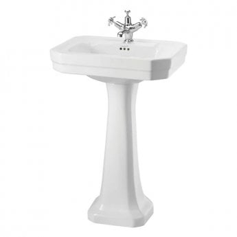 Burlington Victorian Basin with Regal Full Pedestal, 560mm Wide, 1 Tap Hole