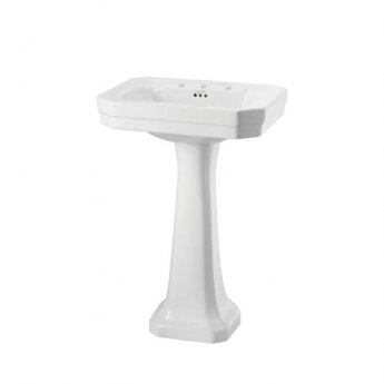 Burlington Victorian Basin with Regal Full Pedestal, 560mm Wide, 3 Tap Hole