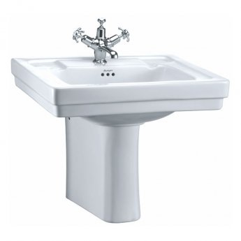 Burlington Victorian Basin with Semi Pedestal 610mm Wide - 1 Tap Hole