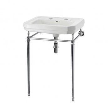 Burlington Victorian Basin with Chrome Wash Stand, 610mm Wide, 2 Tap Hole