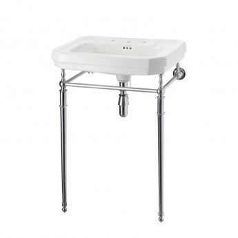 Burlington Victorian Basin with Regal Chrome Wash Stand, 610mm Wide, 3 Tap Hole