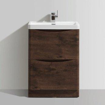 Cali Bali 2-Drawer Floor Standing Vanity Unit with Basin - 600mm Wide - Chestnut