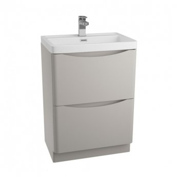 Cali Bali 2-Drawers Floor Standing Vanity Unit with Basin - 600mm Wide - Matt Grey