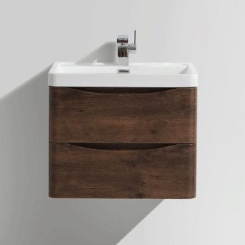 Cali Bali 2-Drawer Wall Mounted Vanity Unit with Basin - 600mm Wide - Chestnut