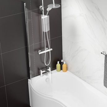 Cali Curved Bath Screen - 1400mm High X 695mm Wide - 6mm Glass