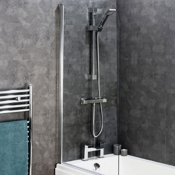 Cali Round Top Hinged Bath Screen 1400mm High x 800mm Wide - 8mm Glass