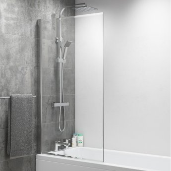Cali Square Top Easy Clean Bath Screen 1400mm High x 800mm Wide - 8mm Glass