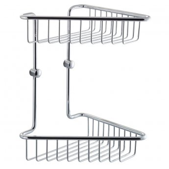 Cali Offset Corner Double Wire Soap Basket - Chrome