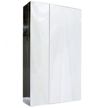 Cali Dual Door Wall Hung Mirror Cabinet - 430mm Wide - Polished Stainless Steel