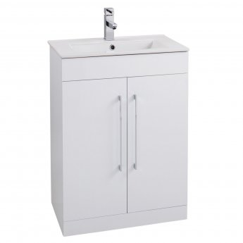 Cali Bergo 2-Door Floor Standing Vanity Unit with Minimalist Edge Basin 600mm Wide - Gloss White