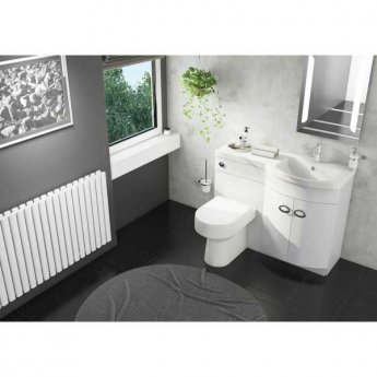 Cali Pebble D Shaped Combination Unit with Right Handed Basin 1100mm Wide - White Polymarble Basin