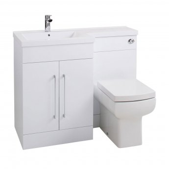 Cali Maze L Shaped Combination Unit with LH Thin Edge Basin - 1090mm Wide - Gloss White