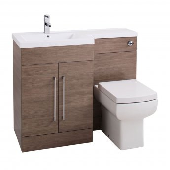 Cali Maze L Shaped Combination Unit with LH Thin Edge Basin - 1090mm Wide - Medium Oak