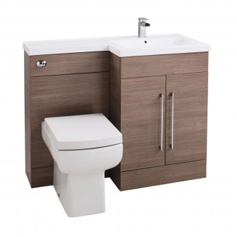 Cali Maze L Shaped Combination Unit with RH Thin Edge Basin - 1090mm Wide - Medium Oak