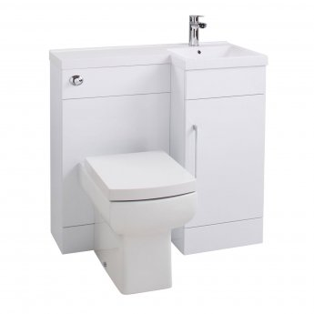 Cali Maze Compact L Shaped Combination Unit Right Handed Thin-Edge Basin - 900mm Gloss White