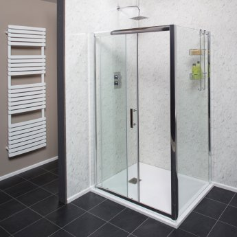 Cali Cass Six Sliding Shower Door 1100mm Wide - 6mm Glass