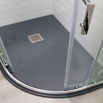 Cali Cass Stone Offset Quadrant Slate Effect Shower Tray with Waste 1200mm x 900mm RH - Anthracite
