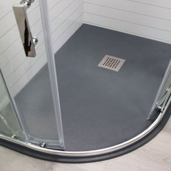 Cali Cass Stone Offset Quadrant Slate Effect Shower Tray with Waste 1200mm x 900mm LH Anthracite