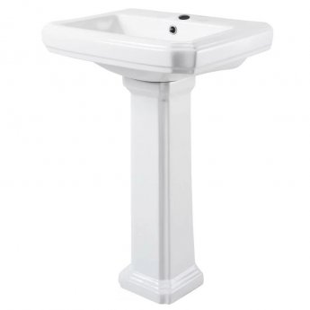Cali Cromford Traditional Basin with Full Pedestal - 570mm Wide - 1 Tap Hole