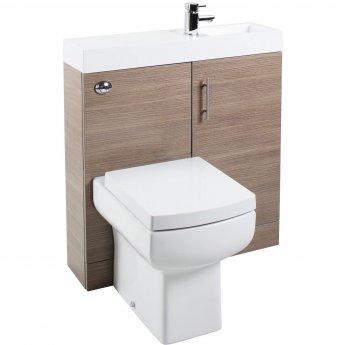 Cali Cube Plus Combination Unit with Polymarble Reversible Basin - 800mm Wide - Medium Oak