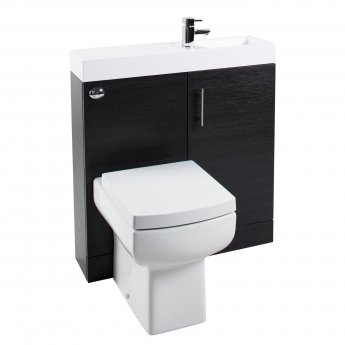 Cali Cube Plus Combination Unit with Polymarble Reversible Basin - 800mm Wide - Black Ash
