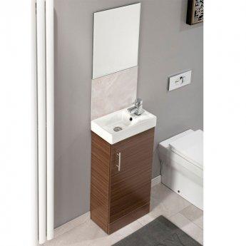 Cali Cube Vanity Unit with Basin - 400mm Wide - Walnut
