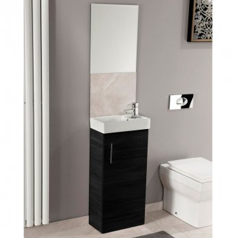 Cali Cube Vanity Unit with Basin - 400mm Wide - Black Ash