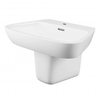 Cali Dearne Basin with Semi Pedestal 610mm Wide - 1 Tap Hole