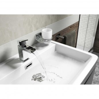 Cali Dunk Waterfall Mono Basin Mixer Tap Deck Mounted with Click Clack Waste - Chrome