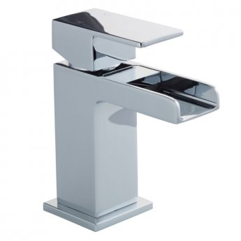 Cali Dunk Waterfall Mini Mono Basin Mixer Tap Deck Mounted with Click Clack Waste - Chrome